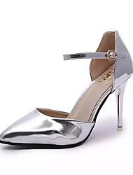 Women's Heels Spring Comfort PU Casual Stiletto Heel Buckle Silver Gold Walking