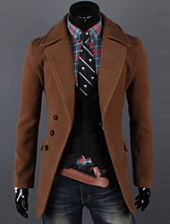 Men's Solid Casual / Work Trench coat,Polyester / Wool Blend Long Sleeve-Black / Brown