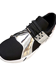Men's Flats Spring Fall Comfort PU Fabric Casual Flat Heel Split Joint Lace-up Black Silver Gold Walking