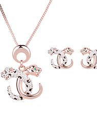 Women Wedding Bridal Colorful Diamond  Lion's Head Gold Pendant Necklace Earring Set Clavicle Chain