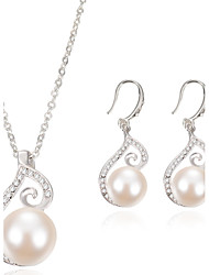 Women Wedding Party Jewelery Bridal Water-drop Conch-like Diamond Pearl Necklace Earrings Two - piece