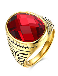 Vintage Style Cool Men Black Natural Stone Ring With Titanium Steel 18K Gold Plated Red Ruby Ring For Man Jewelry TGR115