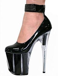 Damen-High Heels-Outddor Kleid Lässig Party & Festivität-PU-Stöckelabsatz-Komfort Neuheit Club-Schuhe-Schwarz Schwarz/weiss