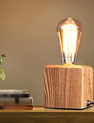 Nordic Mediterranean Style Fumigated Wood Desk Lamp for Reading Room Bedroom,Wooden Art Edison Bulb Table Lamp