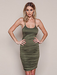 Women's Lace up|Backless Casual/Daily Sexy Bodycon Dress,Solid Strap Above Knee Long Sleeve Red Green Cotton Summer Fall High Rise Stretchy Thin
