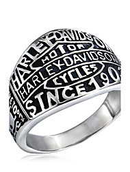 Men's Fashion 316L Titanium Steel Personality Vintage Letter Sculpture Plating Jewel Rings Casual/Daily Accessory 1pc