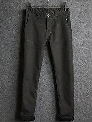 Men's Loose Chinos Pants,Casual/Daily Simple Solid Mid Rise Zipper Button Cotton Inelastic Fall