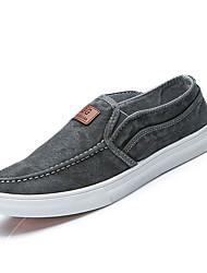 Men's Loafers & Slip-Ons Spring Fall Comfort Fabric Casual Flat Heel Applique Gray Light Blue Dark Blue Walking