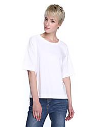 Damen Solide Einfach / Street Schick Ausgehen T-shirt,Rundhalsausschnitt ½ Länge Ärmel Blau / Rosa / Weiß / Grün Baumwolle Mittel