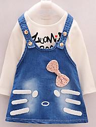 Girls Fashion Print Cartoon Long Sleeve Cowboy Braces Skirt Two-Piece Outfit