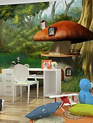 JAMMORY Art DecoWallpaper For Home Wall Covering Canvas Adhesive required Mural Children's Room Cartoon Mushroom XL XXL XXXL