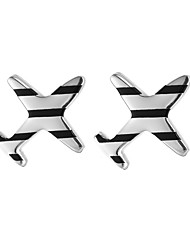 SILVERAGE Sterling Silver Striped Airplane Stud Earrings