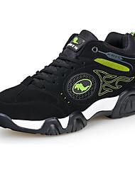 Homme Chaussures d'Athlétisme Confort Cuir Printemps Automne Décontracté Confort Lacet Talon Plat Noir/Vert Noir et Bleu 5 à 7 cm