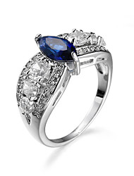 Brand Crown Ring Royalblue Jewelry Rings For Women Platinum Plated Channel Setting Women Engagement Wedding Ring