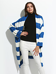 Women's Casual/Daily Simple Short CardiganStriped Blue / Beige / Black / Purple Round Neck Long Sleeve