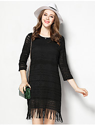 Women's Casual/Daily Simple Loose Dress,Solid Round Neck Above Knee ¾ Sleeve Black Polyester Spring Low Rise Micro-elastic Thin