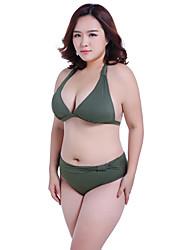Women's Straped Bikini,Solid Nylon Dark Green