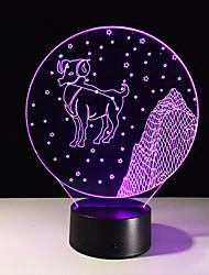 aries 1pc estéreo colorido visão levou lâmpada de luz da lâmpada 3d colorido gradiente de acrílico visão lâmpada noite