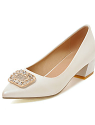 Women's Heels Spring Summer Fall PU Outdoor Office & Career Casual Low Heel Rhinestone Gold White Silver Blushing Pink