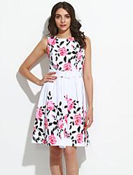 Women's Plus Size Vintage Sheath Dress,Floral Round Neck Knee-length Sleeveless White Cotton / Polyester Summer