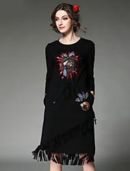 AOFULI Fashion Women Dress Ethnic Vintage Elegant High Embroidery Bead Sequins Tassel Elastic Waist Dress