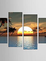 Пейзаж Цветочные мотивы/ботанический Modern Средиземноморье,4 панели Холст Любая форма Печать Искусство Декор стены For Украшение дома
