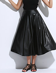 Women Retro High Waist PU Skirt , Belt Not Included