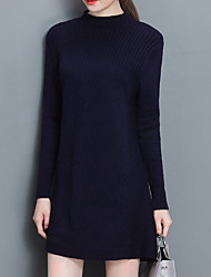 Women's Going out Casual/Daily Sexy Vintage A Line Sweater Dress,Solid Stand Above Knee Long Sleeve Blue Polyester Winter Mid Rise
