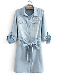 Women's Blue Cotton Dress , Casual Long Sleeve