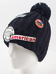 Label Badge Wool Ball Wool Hat Autumn And Winter Letters Single Cap Knitted Wool Cap