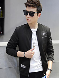 Men's Casual/Daily Simple Jackets,Print Long Sleeve Black Rayon