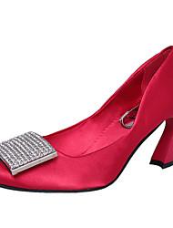 Damen-High Heels-Lässig-PU-Blockabsatz-Komfort-Schwarz Rosa Rot