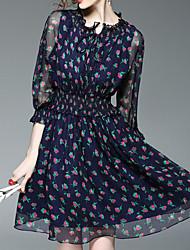 Feminino Chifon Vestido, Casual Vintage Estampado Decote Redondo Altura dos Joelhos Manga Longa Azul Raiom Primavera Cintura Baixa