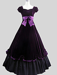 Outfits Classic/Traditional Lolita Victorian Cosplay Lolita Dress Purple Solid Short Sleeve Ankle-length Top Skirt For Women Velvet