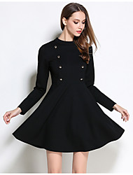Women's Plus Size Going out Holiday Simple Cute A Line Sheath Dress,Solid Round Neck Above Knee Long Sleeve Cotton Spandex Black Spring