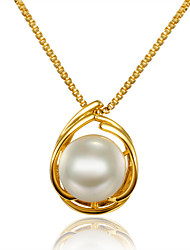 Women's Pendant Necklaces Pearl Pearl Gold Plated 18K gold Circle Circular Design Unique Design Euramerican Gold JewelryWedding Party