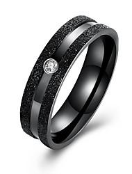 Кольцо Цирконий Нержавеющая сталь Циркон Титановая сталь Черный Бижутерия Повседневные 1шт
