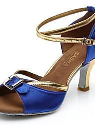 Customizable Women's Dance Shoes Satin Satin Latin Sandals Low Heel Practice Beginner Professional Indoor Outdoor PerformanceBlack Dark