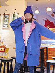 Sign bf Harajuku style hit color plus thick velvet long section of double-sided woolen coat