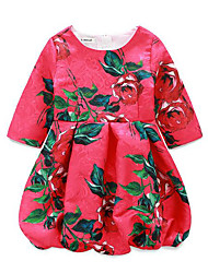 Girl's Casual/Daily Floral Dress,Rayon Spring Half Sleeve