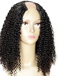 couleur # 1 crépus perruque upart bouclés à vendre jet black mongolian 16inch cheveux 1,5 * 4 partie centrale u partie perruque densité de