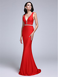 TS Couture Formal Evening Dress - See Through Sheath / Column V-neck Sweep / Brush Train Jersey with Beading