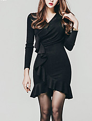 Women's Ruffle|Asymmetrical Going out Sophisticated Sheath Dress,Solid Peplum V Neck Above Knee Long Sleeve Polyester Spandex Black Spring Mid Rise