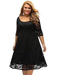 Women's Lace Casual/Daily Formal Simple Loose Dress,Solid U Neck Above Knee ½ Length Sleeve Polyester White Black All Seasons Low Rise