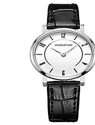 Couple's Fashion Watch / Quartz PU Band Casual Black White