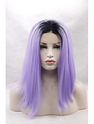 Silky Straight Synthetic Glueless Lace Front Long Black Ombre Lavender Hair Wig Heat Resistant