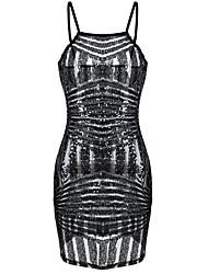 Women Bodycon Sequin Dress Spaghetti Strap Sleeveless Sheer Clubwear Party Mini Dress