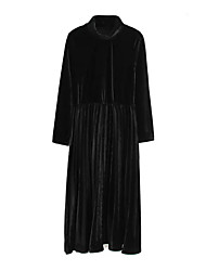 Women's Going out Casual/Daily Holiday Vintage Simple Sheath Dress,Solid Pleated Stand Midi Long Sleeve Cotton Polyester Black Brown