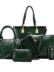 Women PU Formal Outdoor Office & Career Bag Sets Green Brown Black Burgundy