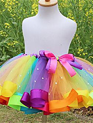 Girl Casual/Daily Rainbow Skirt-Cotton Summer